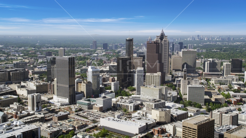 Downtown Atlanta skyscrapers and office buildings, Georgia Aerial Stock Photos | AX37_064.0000071F