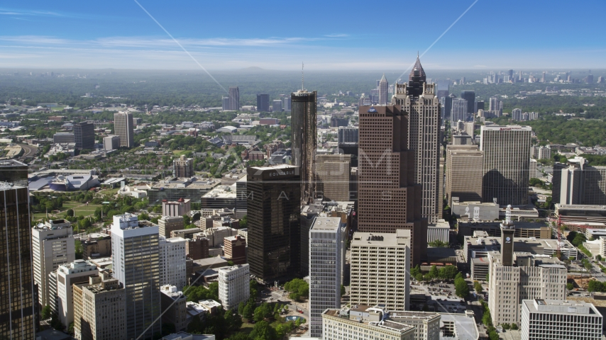Downtown skyscrapers, Atlanta, Georgia Aerial Stock Photos | AX37_065.0000000F