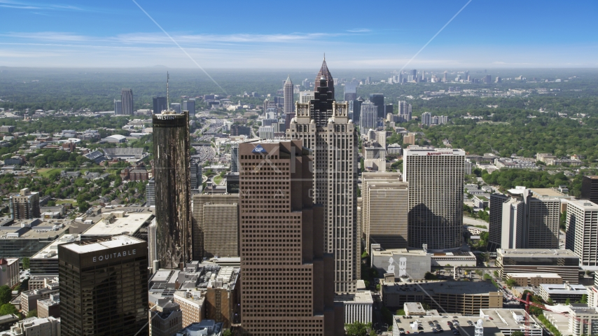 Downtown hotels and skyscrapers, Atlanta, Georgia Aerial Stock Photos | AX37_065.0000221F