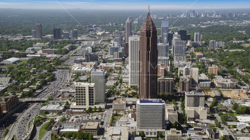 Midtown Atlanta skyscrapers on a hazy day, Georgia Aerial Stock Photos | AX37_067.0000294F