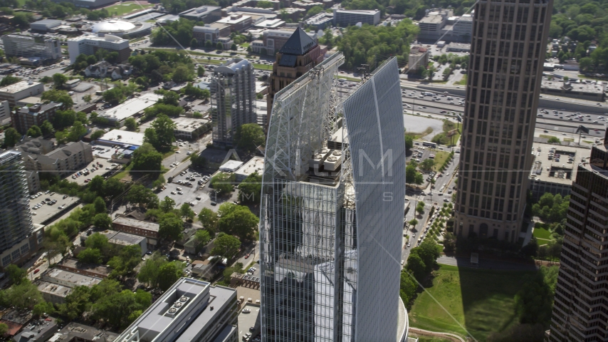 1180 Peachtree among Midtown Atlanta skyscrapers, Georgia Aerial Stock Photos | AX37_071.0000054F