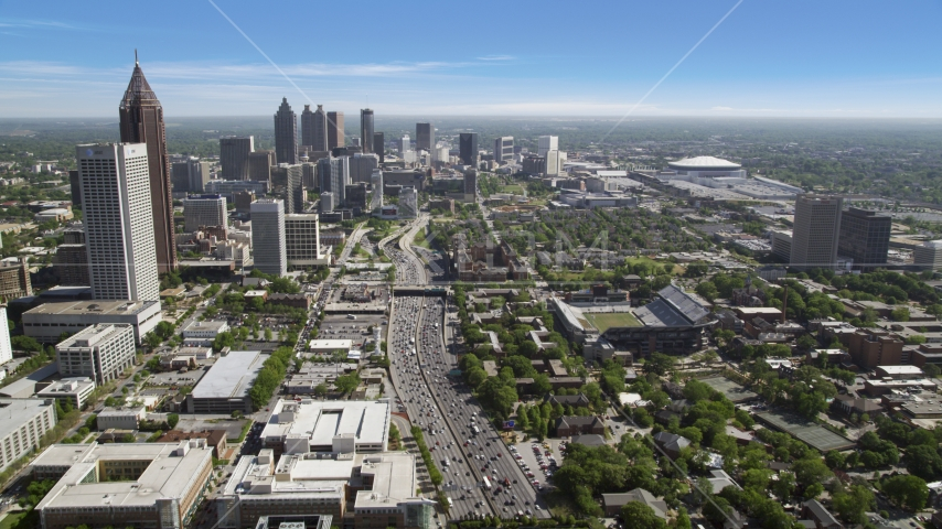 Heavy traffic on Downtown Connector, Downtown Atlanta, Georgia Aerial Stock Photos | AX37_073.0000022F