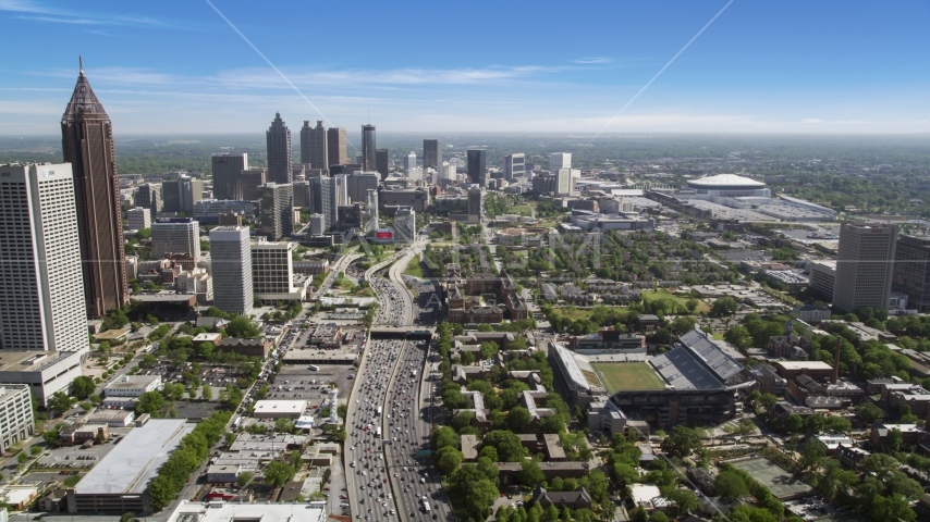 Heavy traffic on Downtown Connector toward Downtown Atlanta, Georgia Aerial Stock Photos | AX37_073.0000122F