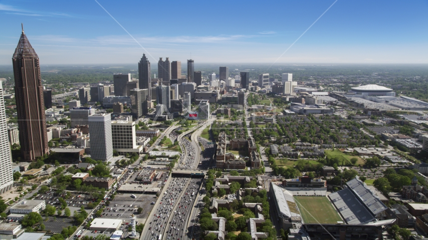 Heavy traffic on Downtown Connector toward Downtown Atlanta, Georgia Aerial Stock Photos | AX37_073.0000225F