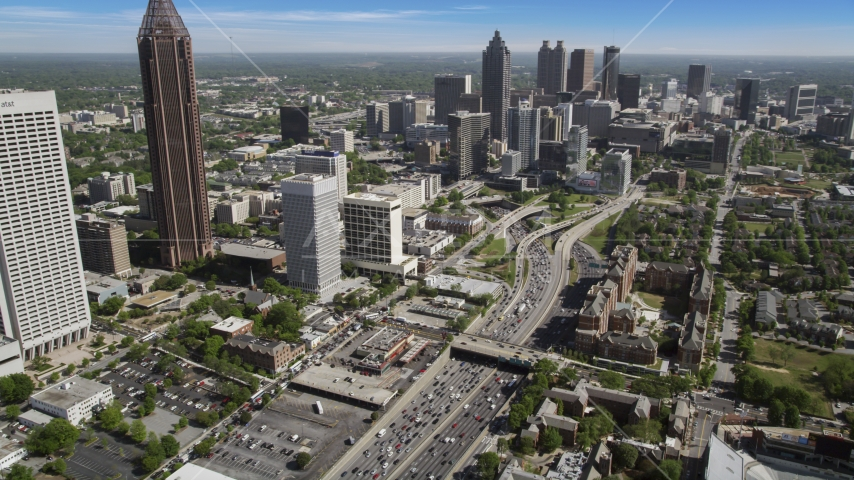 Heavy traffic on Downtown Connector, Midtown Atlanta, Georgia Aerial Stock Photos | AX37_074.0000095F