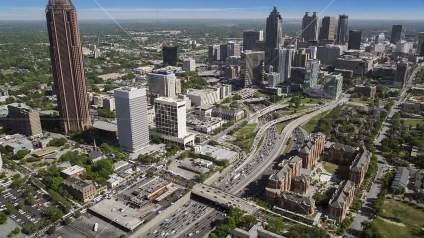 Heavy traffic on Downtown Connector, Midtown Atlanta, Georgia Aerial Stock Photos | AX37_074.0000191F