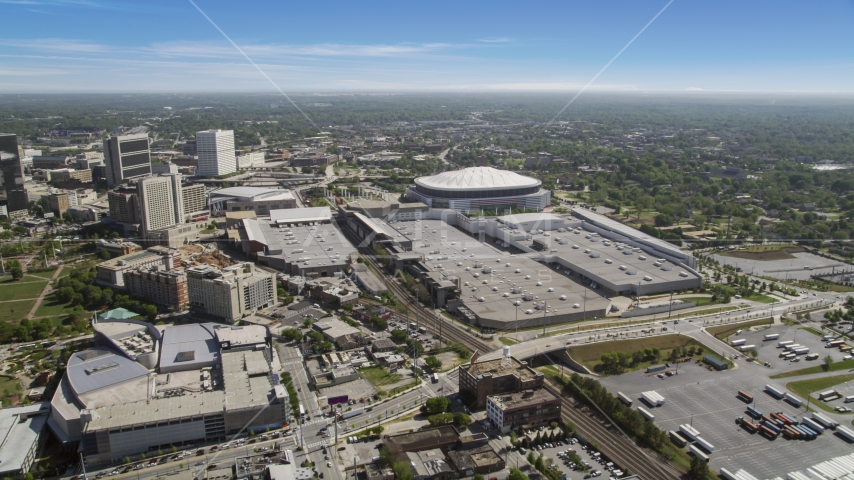 Georgia Dome and surrounding neighborhoods, Atlanta, Georgia Aerial Stock Photos | AX37_075.0000251F