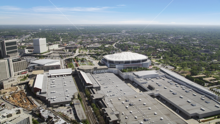 Georgia World Congress Center and Georgia Dome, Atlanta, Georgia Aerial Stock Photo AX37_076.0000112F | Axiom Images