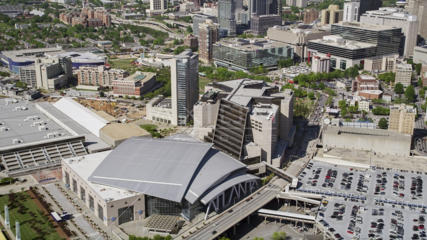 Philips Arena and CNN Center, Downtown Atlanta, Georgia Aerial Stock Photos | AX37_077.0000055F