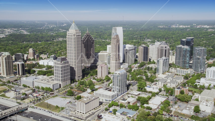 Midtown Atlanta skyscrapers and buildings, Georgia Aerial Stock Photos | AX37_081.0000000F
