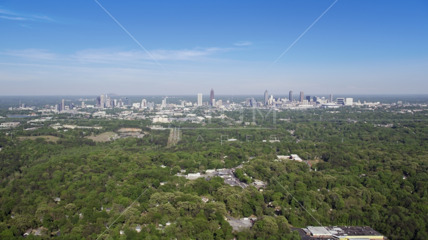 Midtown and Downtown from over forests, Atlanta, Georgia Aerial Stock Photos | AX38_003.0000095F