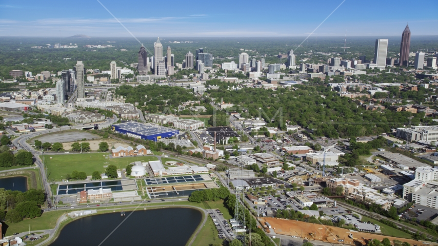 Skyscrapers and buildings of Midtown and Downtown Atlanta, Georgia Aerial Stock Photo AX38_006.0000107F | Axiom Images