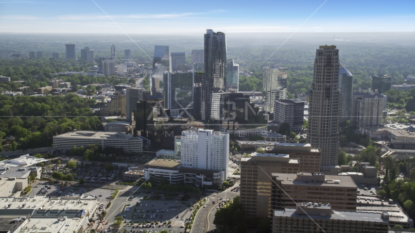 Skyscrapers on a hazy day, Buckhead, Georgia Aerial Stock Photos | AX38_017.0000073F
