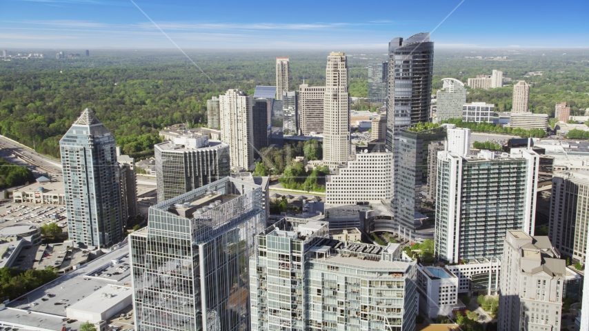 Skyscrapers and office buildings, Buckhead, Georgia Aerial Stock Photos | AX38_021.0000090F