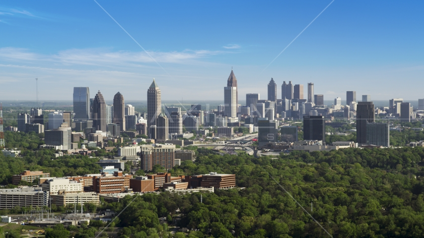 Midtown Atlanta skyline, hazy, Buckhead, Georgia Aerial Stock Photo AX38_030.0000205F | Axiom Images