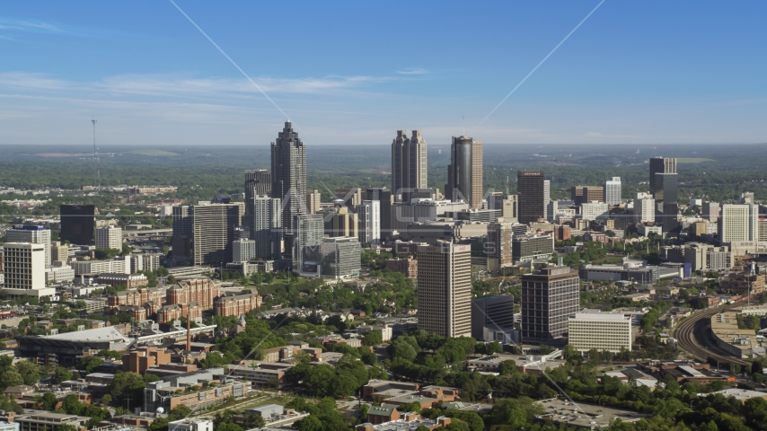 Sun Trust Plaza and skyscrapers in Downtown Atlanta, Georgia Aerial Stock Photos | AX38_061.0000054F