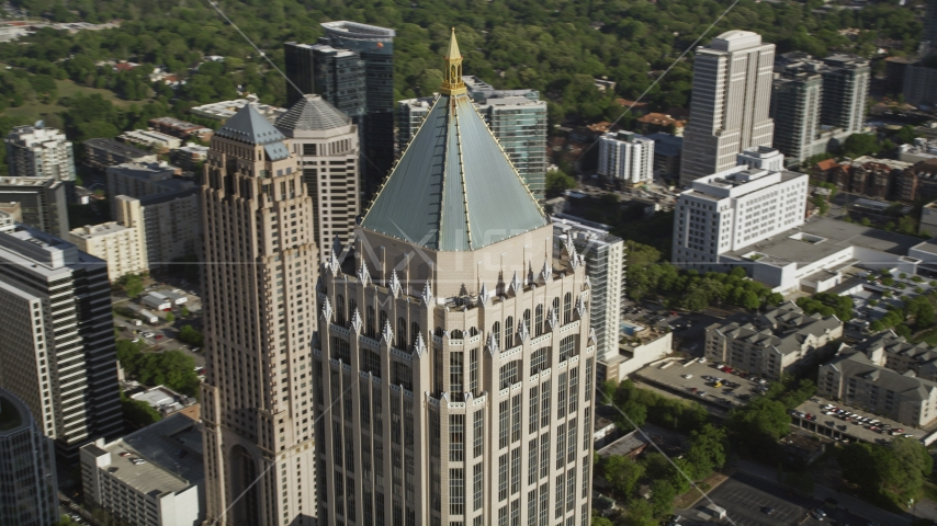 Close-up of the top of One Atlantic Center, Midtown Atlanta, Georgia Aerial Stock Photo AX38_063.0000054F | Axiom Images