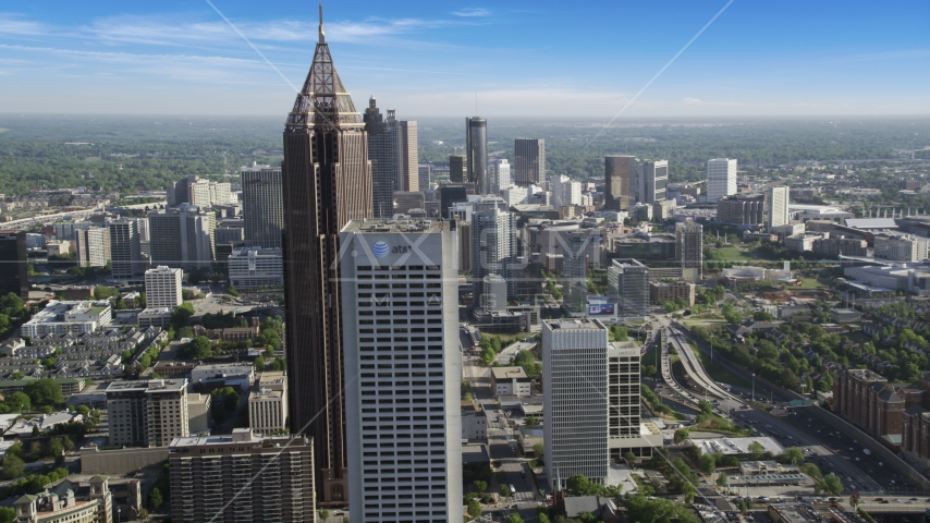 Bank of America Plaza and Midtown skyscrapers revealing Downtown skyscrapers, Atlanta Aerial Stock Photo AX38_070.0000134F | Axiom Images