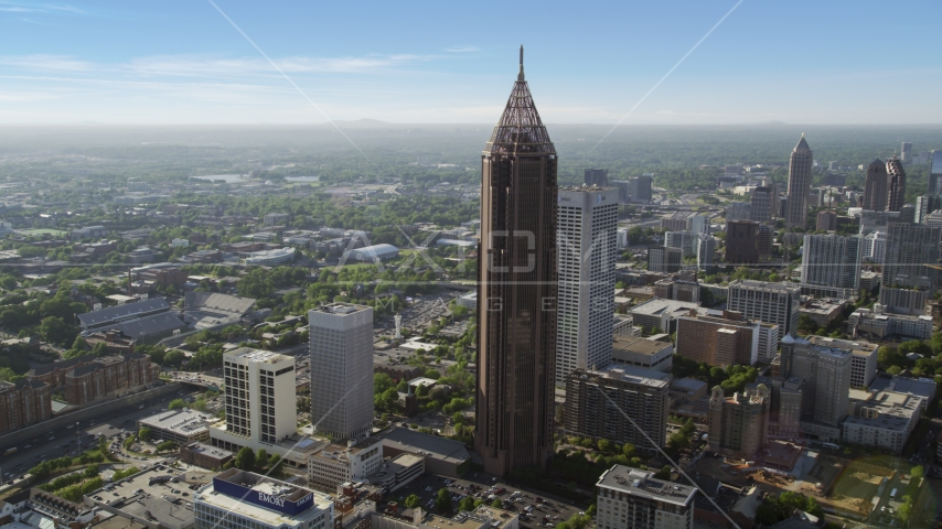 Bank of America Plaza, hazy, Midtown Atlanta, Georgia Aerial Stock Photos | AX38_076.0000092F