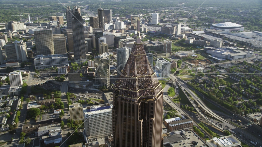 Top of Bank of America Plaza towering over Midtown Atlanta, Georgia Aerial Stock Photos AX38_077.0000417F