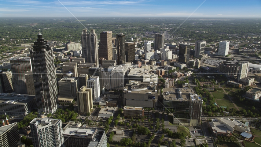 Downtown skyscrapers and office buildings from Midtown, Atlanta, Georgia Aerial Stock Photo AX38_079.0000087F | Axiom Images