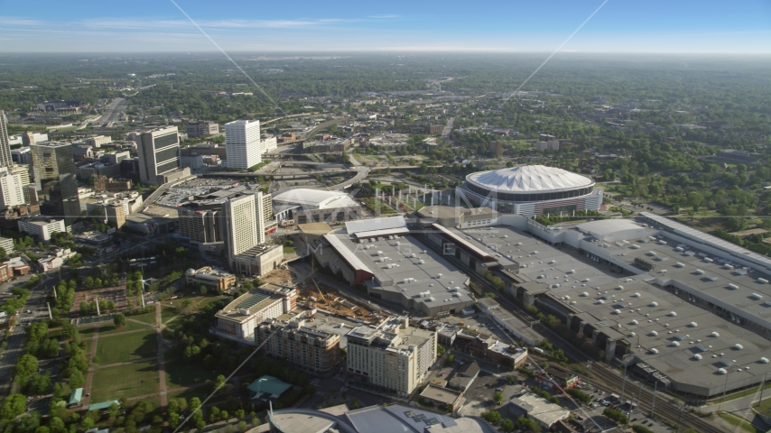Georgia Dome and Georgia World Congress Center, Atlanta, Georgia Aerial Stock Photos AX38_080.0000003F