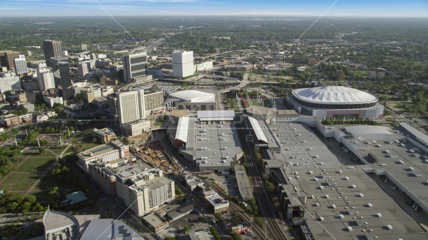 Georgia Dome and Georgia World Congress Center, Atlanta, Georgia Aerial Stock Photos | AX38_080.0000186F
