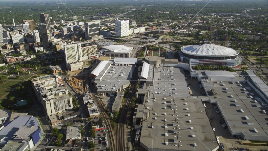 Georgia Dome and Georgia World Congress Center, Atlanta, Georgia Aerial Stock Photos | AX38_080.0000297F