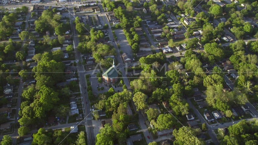 A church in a residential area, West Atlanta, Georgia Aerial Stock Photos | AX39_002.0000046F