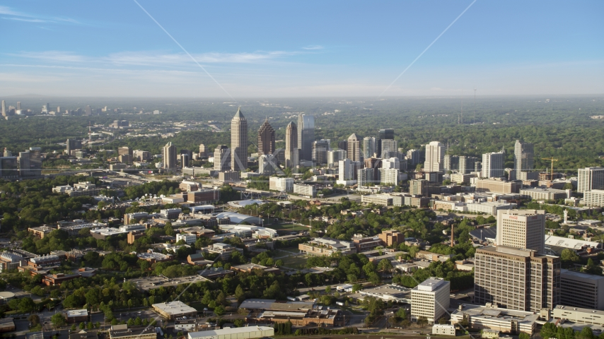 Skyscrapers and high-rises, hazy, Midtown Atlanta, Georgia Aerial Stock Photos | AX39_003.0000063F