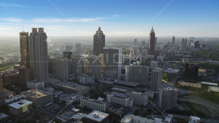 Skyscrapers and office buildings, hazy; Downtown Atlanta, Georgia Aerial Stock Photos | AX39_017.0000115F