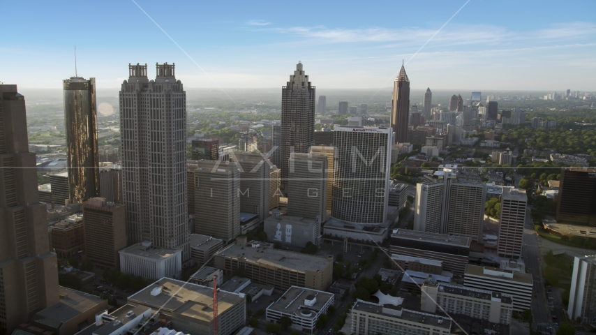 Skyscrapers and office buildings; Downtown Atlanta, Georgia, sunset Aerial Stock Photo AX39_017.0000284F | Axiom Images
