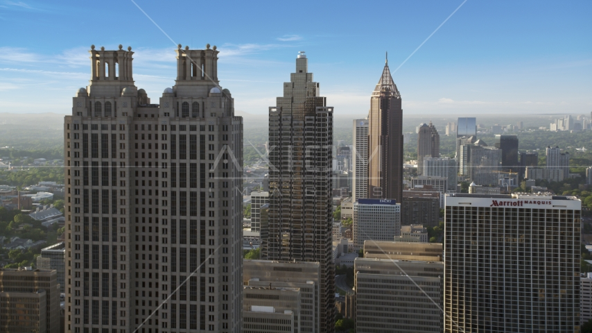 Downtown skyscrapers, hazy, Atlanta, Georgia Aerial Stock Photo AX39_018.0000047F | Axiom Images