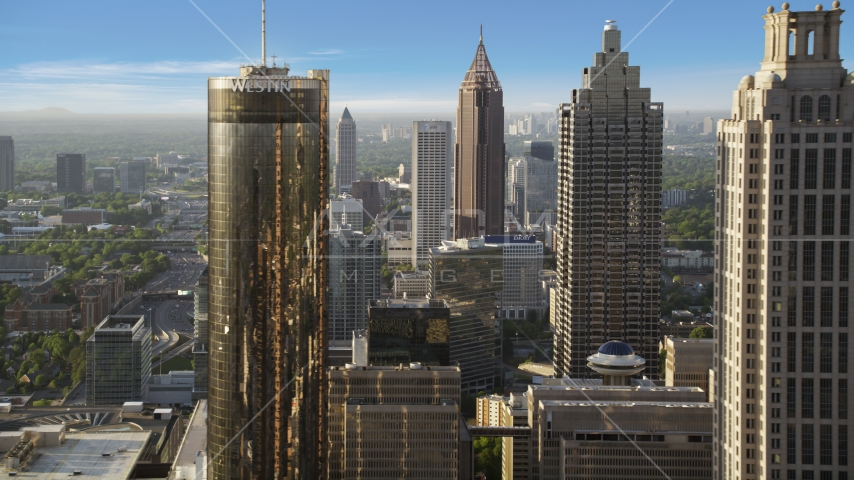Downtown Skyscrapers, Atlanta, Georgia Aerial Stock Photo AX39_018.0000256F | Axiom Images