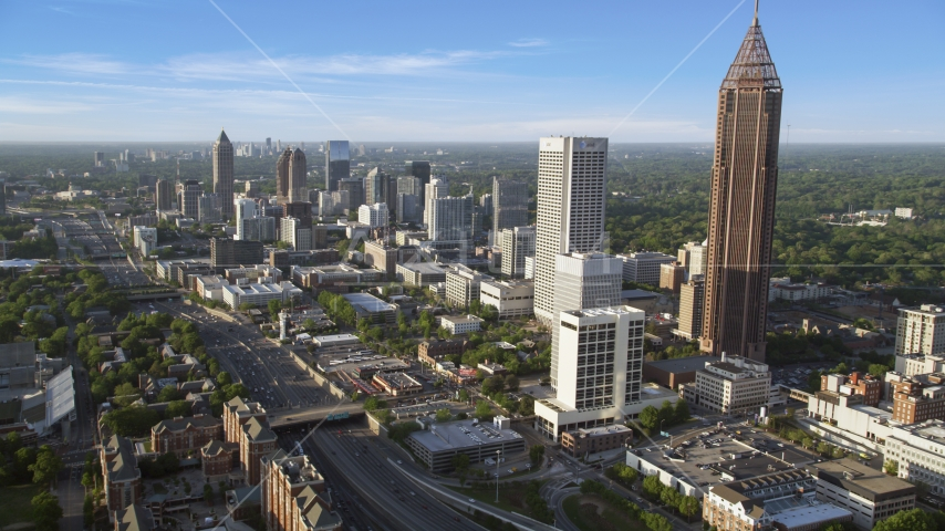 Bank of America Plaza and Midtown Atlanta skyscrapers; Georgia Aerial Stock Photos | AX39_020.0000078F