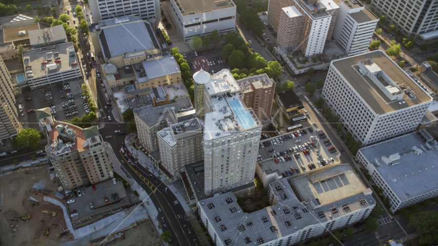 Bird's eye view of the Georgian Terrace Hotel, Midtown Atlanta Aerial Stock Photo AX39_021.0000048F | Axiom Images