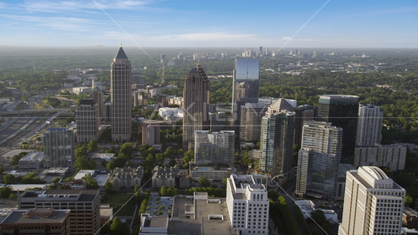 One Atlantic Center and surrounding skyscrapers, Midtown Atlanta, Georgia Aerial Stock Photos | AX39_022.0000037F