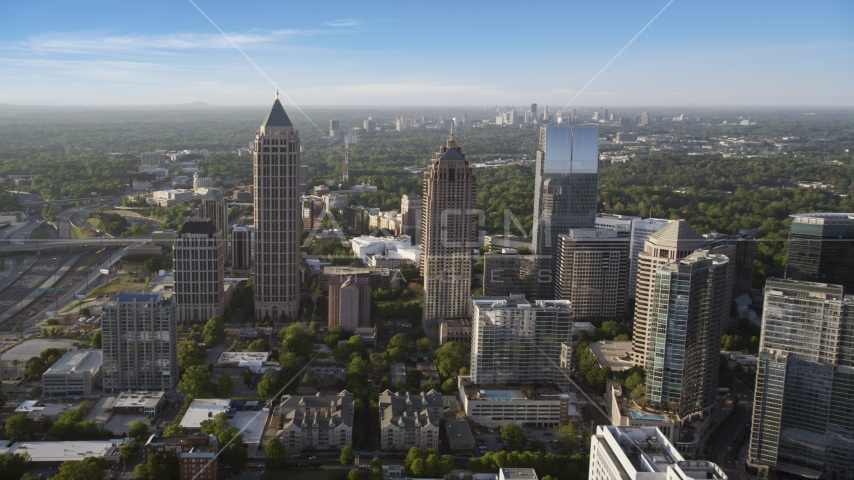 One Atlantic Center and surrounding skyscrapers, Midtown Atlanta, sunset Aerial Stock Photo AX39_022.0000127F | Axiom Images