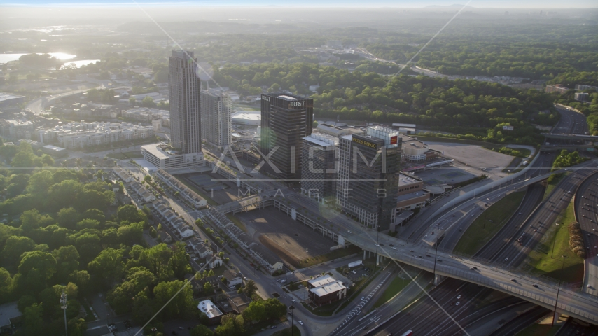 Office buildings and The Atlantic apartments, Midtown Atlanta, sunset Aerial Stock Photo AX39_024.0000016F | Axiom Images
