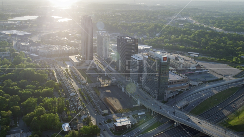 Office buildings and The Atlantic apartments, Midtown Atlanta, Georgia  Aerial Stock Photos | AX39_024.0000091F