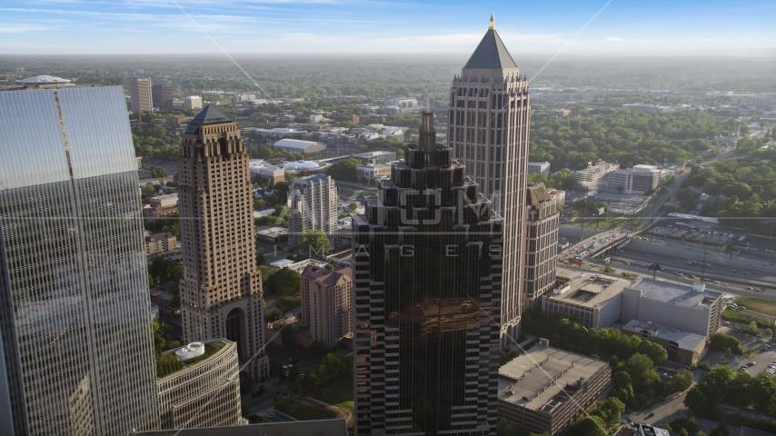 Promenade II near cluster of skyscrapers, Midtown Atlanta, Georgia Aerial Stock Photo AX39_025.0000123F | Axiom Images
