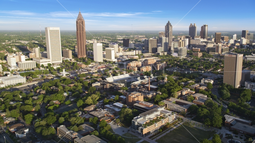 Atlanta skyscrapers and Bobby Dodd Stadium, Georgia Aerial Stock Photo AX39_028.0000238F | Axiom Images