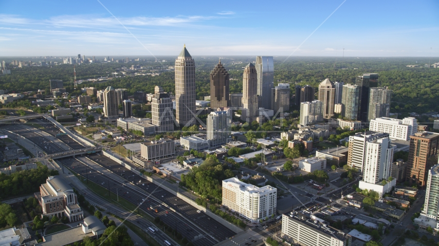 The I-85 freeway and Midtown Atlanta skyscrapers in Georgia Aerial Stock Photos | AX39_030.0000141F