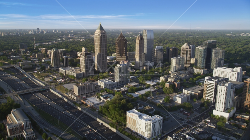 The skyscrapers of Midtown Atlanta, Georgia and the Interstate 85 freeway Aerial Stock Photos | AX39_030.0000192F