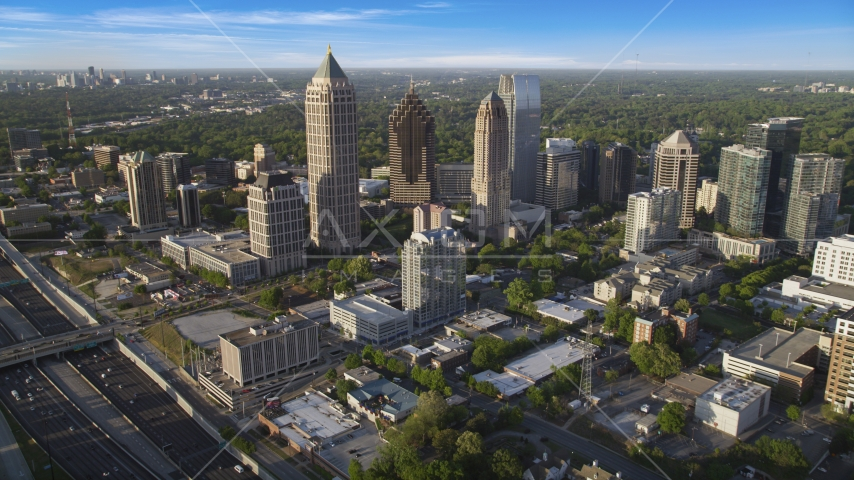 Skyscrapers in the Midtown area of Atlanta, Georgia Aerial Stock Photos | AX39_030.0000323F