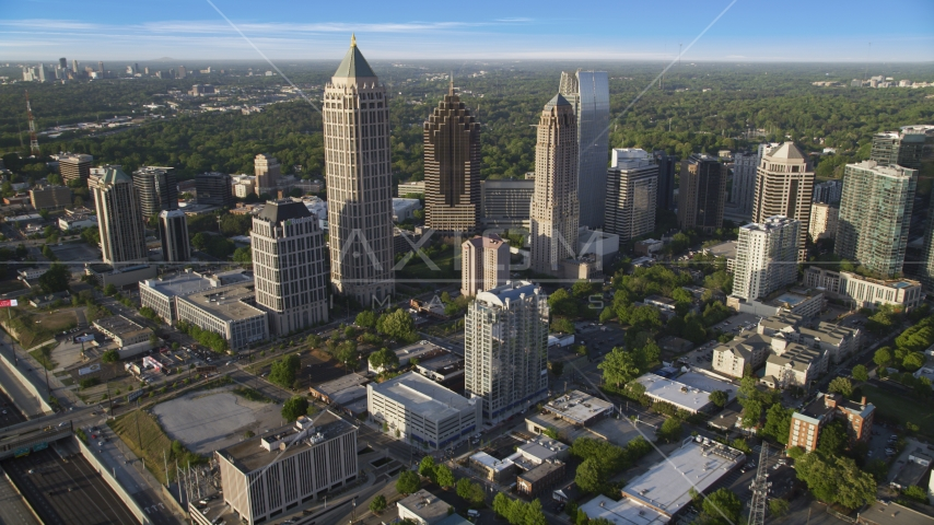 Skyscrapers in Midtown Atlanta, Georgia Aerial Stock Photo AX39_031.0000054F | Axiom Images