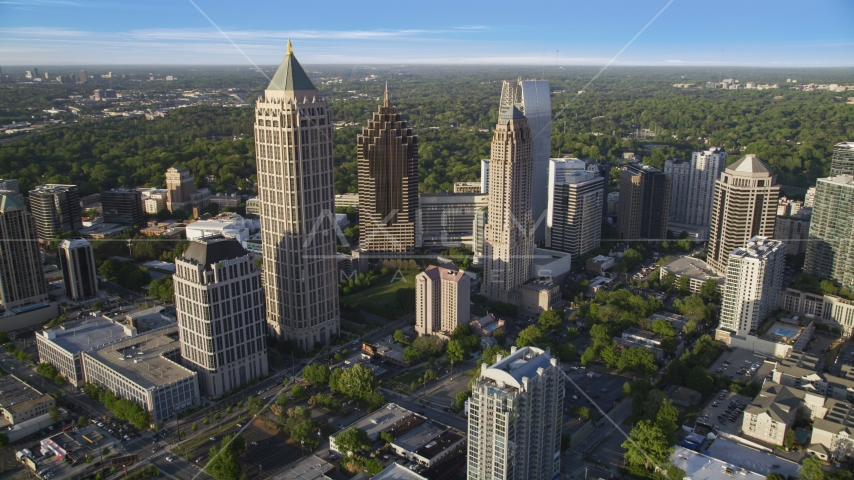 Midtown Atlanta's tall high-rise buildings, Georgia Aerial Stock Photo AX39_031.0000160F | Axiom Images