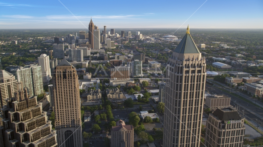 Downtown seen between GLG Grand and One Atlantic Center in Midtown Atlanta, Georgia Aerial Stock Photo AX39_032.0000194F | Axiom Images