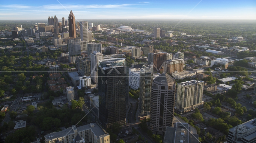 Midtown Atlanta skyscrapers with Downtown in the background, Georgia Aerial Stock Photos | AX39_033.0000165F