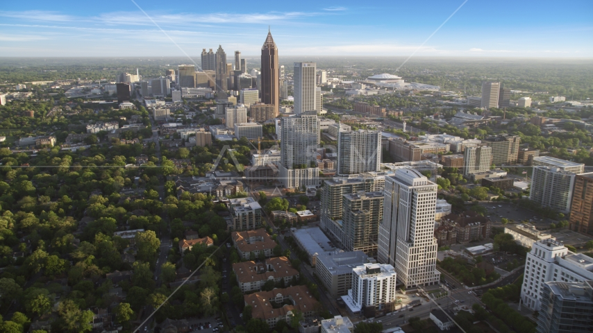 Midtown Atlanta buildings with Downtown Atlanta in the background, Georgia Aerial Stock Photos | AX39_034.0000032F